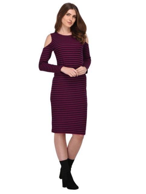 Rigo Multi Striped Cold Shoulder Bodycon Dress for Women