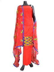 Unstitched Phulkari Suit Piece Cotton Silk-Red