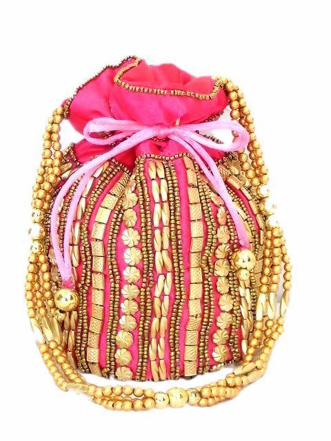 Bead Pouch/Potli Bag - Pink