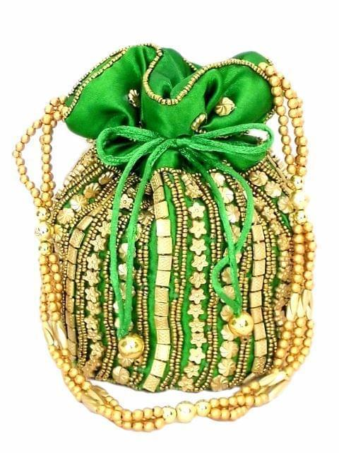 Bead Pouch/Potli Bag - Green