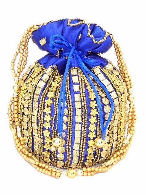 Bead Pouch/Potli Bag - Blue