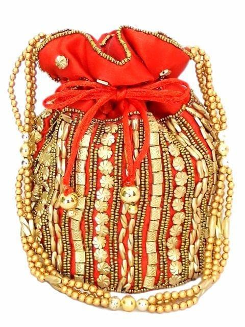 Bead Pouch/Potli Bag - Red