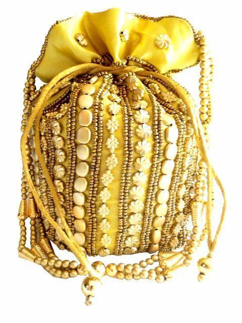 Bead Pouch/Potli Bag - Golden