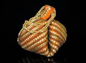 Handmade Satin Beadwork Potli Bag- Orange