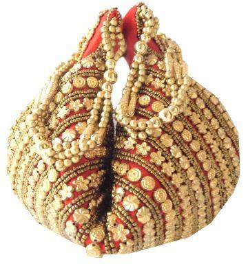 Handmade Satin Beadwork Potli Bag-Red