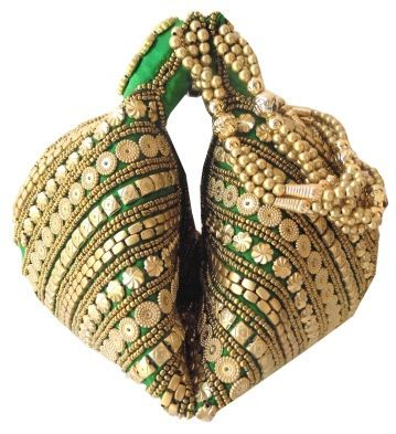 Potli Bag Handmade Satin Beadwork-Green
