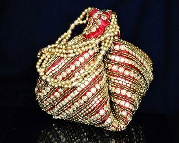 Handmade Satin Beadwork Potli Bag- Maroon