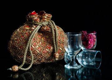 Handmade Beaded Drawstring Potli/Batwa- Red