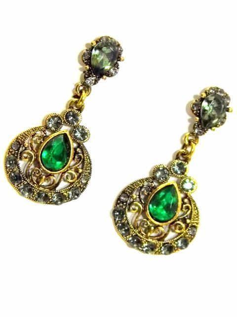 Green & Gold Danglers Earring