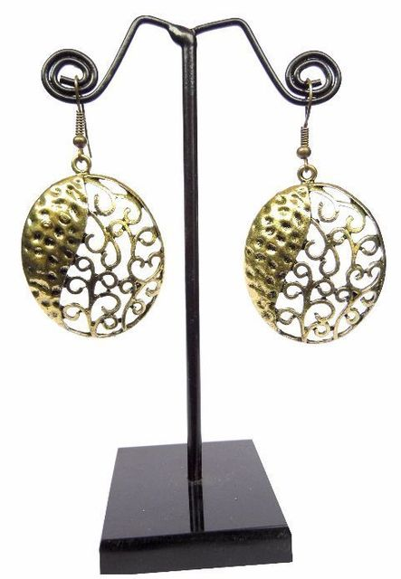 Engraved Brass Turkish Earrings- Oval Shape