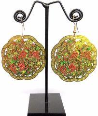 Enamelled Brass Danglers- Grapevine Pattern