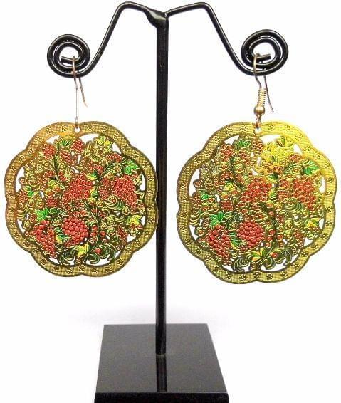 Enamelled Brass Danglers- Grapevine Pattern