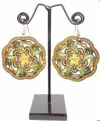 Enamelled Brass Danglers- Flower&Leaf Pattern
