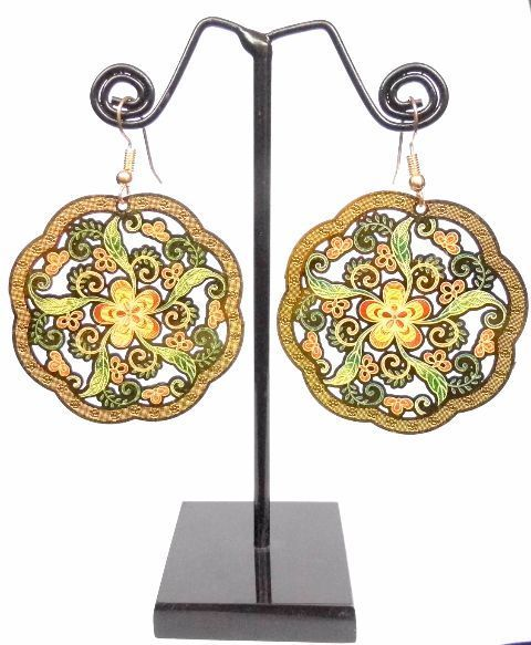 Enamelled Brass Danglers- Flower&Leaf Pattern