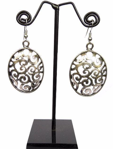 Engraved German Silver Turkish Earrings- Oval Shape 2