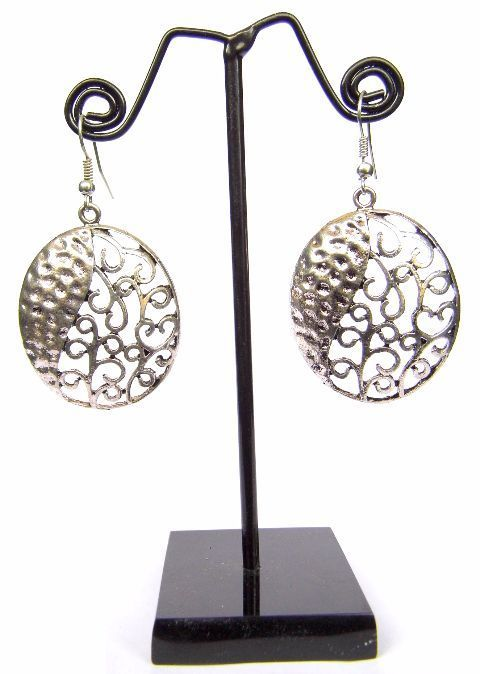 Engraved German Silver Turkish Earrings- Oval Shape