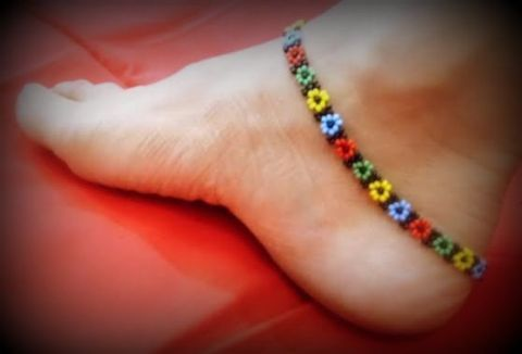 Handmade Bead Anklet Pair- Multicolored