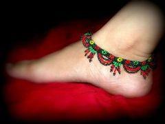Handmade Bead Anklets- Black
