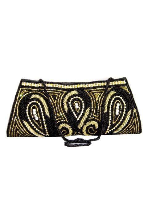 Handmade Beadwork Clutch- Black-Gold 2