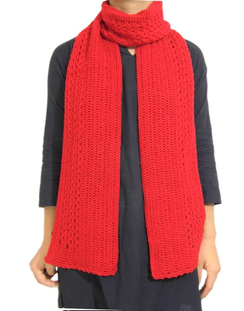 Woollen Crochet Muffler/Stole- Red