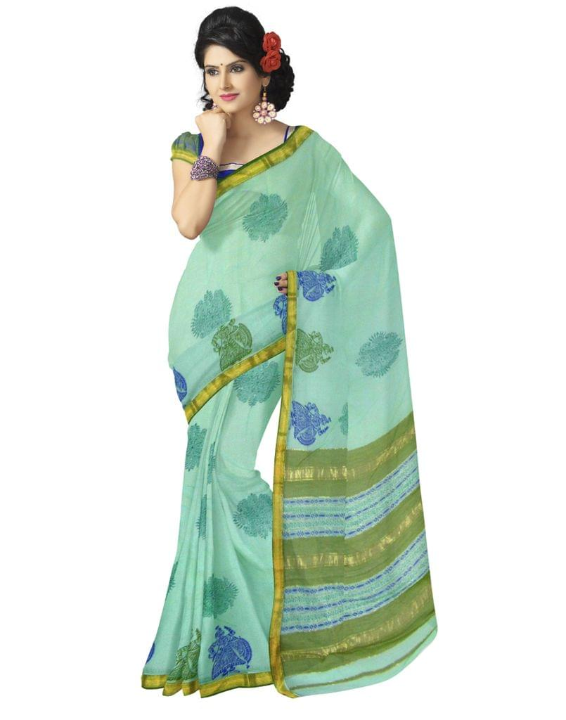 Handloom Block-Print Maheshwari Saree- Aquamarine&Olive Green