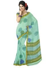 Handloom Block-Print Maheshwari Saree- Aquamarine&Olive Green