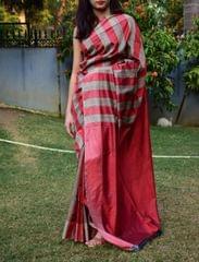 Handloom Katan Silk Saree- Gray&Maroon