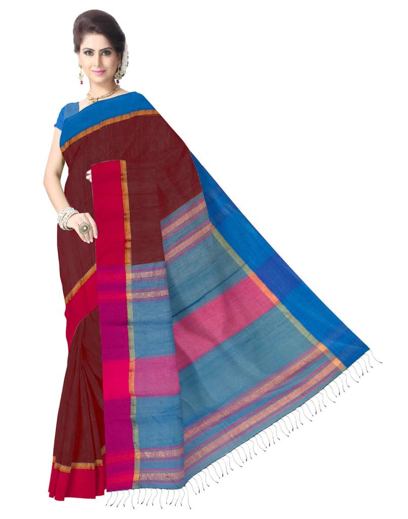 Resham Silk Cotton Bengal Handloom Saree- Wine Color