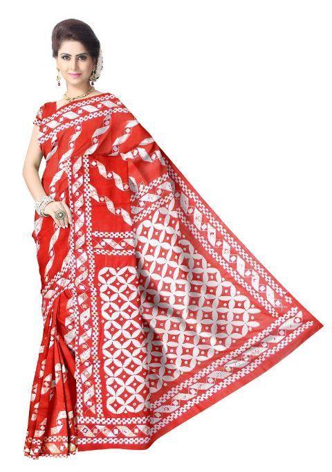 Gachi Tussar Silk Kantha Saree- Red