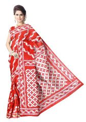 Gachi Tussar Silk Kantha Saree- Red