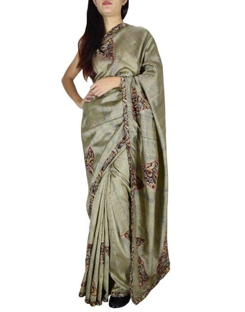 Katan Silk Kalamkari Applique Work Saree
