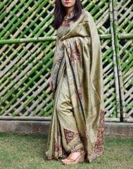 Katan Silk Kalamkari Applique Work Saree