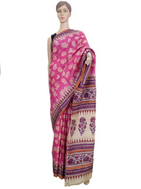 Hand Block Print Gacchi Tussar Silk Saree- Pink