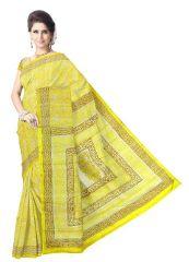 Hand Block Print Gacchi Tussar Silk Saree- Offwhite&Yellow