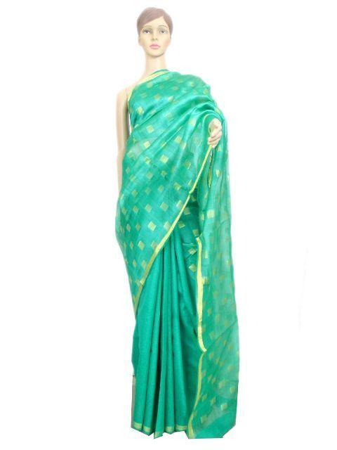 Handloom Resham Matka Silk Saree- Teal Green