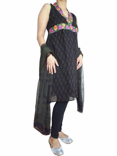 Bagh Print Stitched Pure Chiffon Kurta and Dupatta
