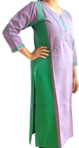 Handloom Khadi Cotton Kurta Stitched- Lilac