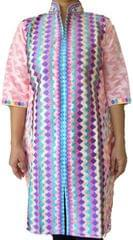 Phulkari Work Stitched Cotton Kurta- Peach