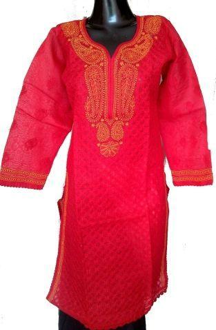 Chikankari Kurta in Cotton-Red & Yellow