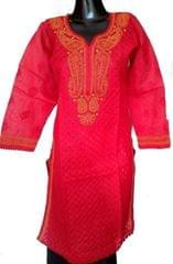 Chikankari Kurta in Cotton-Red & Yellow