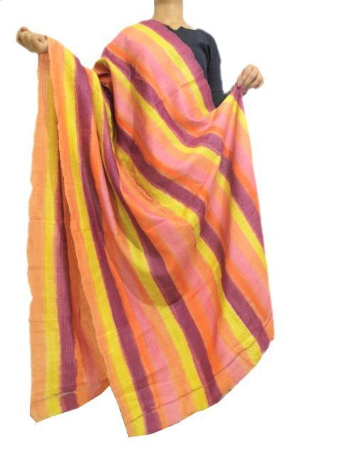 Gachi Tussar Silk Kantha Dupatta - Multicolored