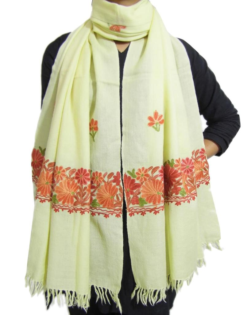 Kashmiri Embroidery Stole on Pure Wool - Offwhite