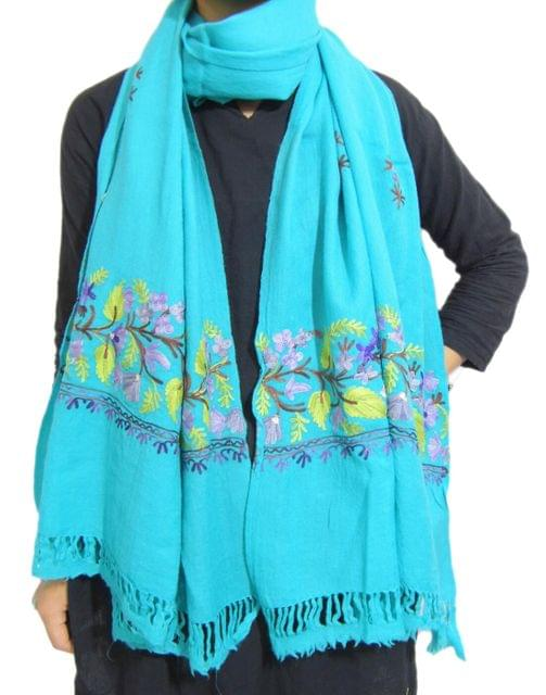 Kashmiri Embroidery Stole on Pure Wool - Turquoise