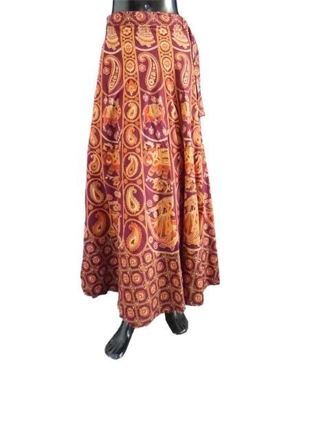 Hand Block Printed Cotton Skirt- Brown