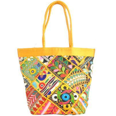 Handmade KutchWork Vintage Handbag in Silk-Yellow 1
