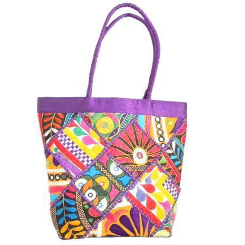 Handmade KutchWork Vintage Handbag in Silk-Purple 1
