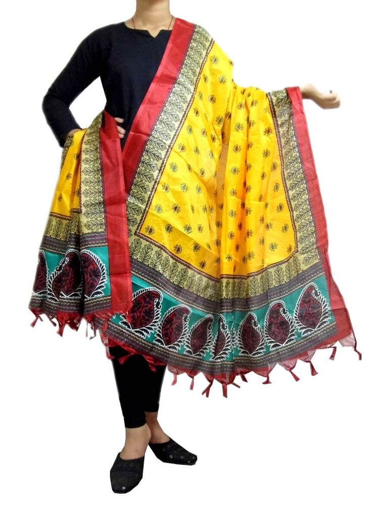 Art Silk Block Printed Dupatta-Yellow