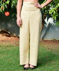 Cotton Palazzo Pants with Chikan Work- Beige