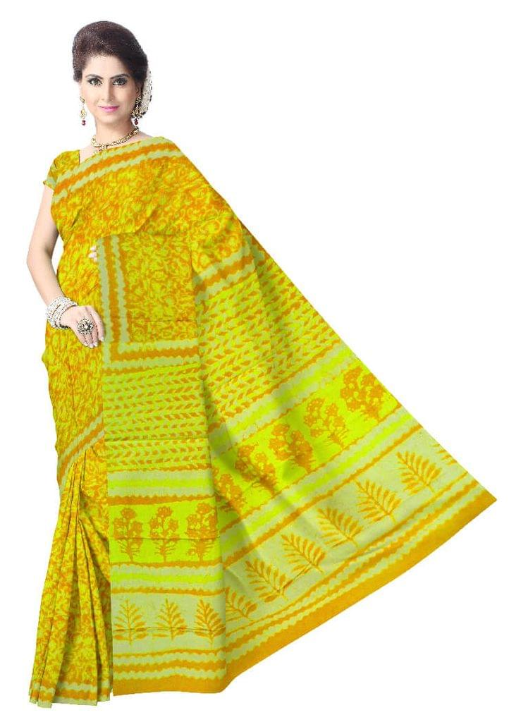 Dabu Print Cotton Saree-Mustard Yellow