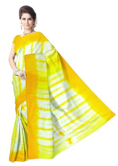 Cotton Shibori Saree- Yellow